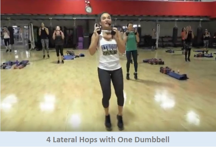 4 Lateral Hops with One Dumbbell