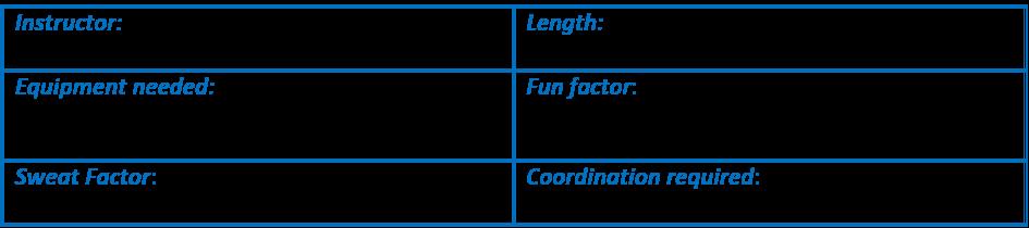 Overview of the workout details. Equipment 5-15# dbs, mat, fun factor 4/5, Sweat factor 3/5, Coordination 2/5