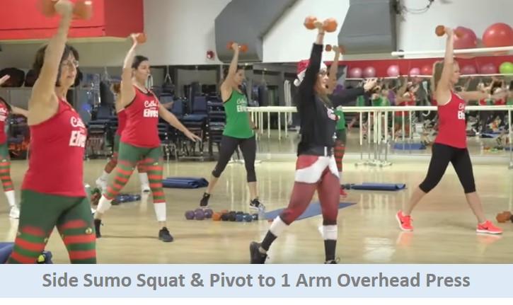 Side sumo squat & pivot to 1 arm overhead press