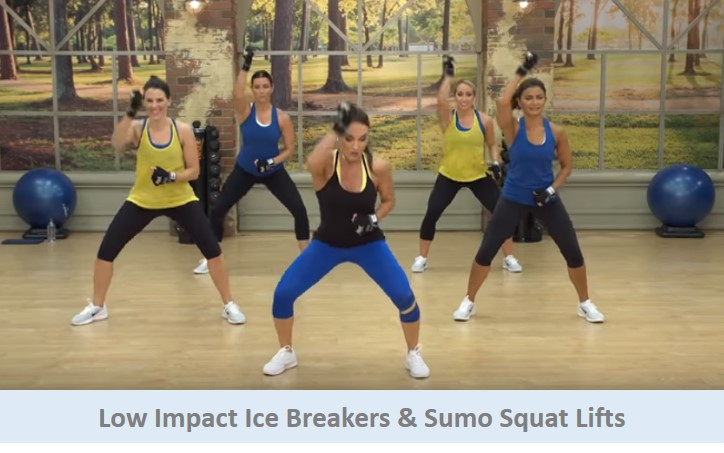 Low impact icebreakers & sumo squat lifts