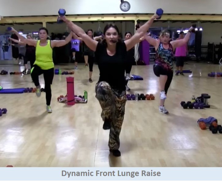 Dynamic front lunge raise