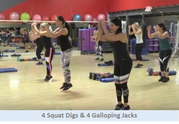 4 Squat Digs & 4 Galloping Jacks