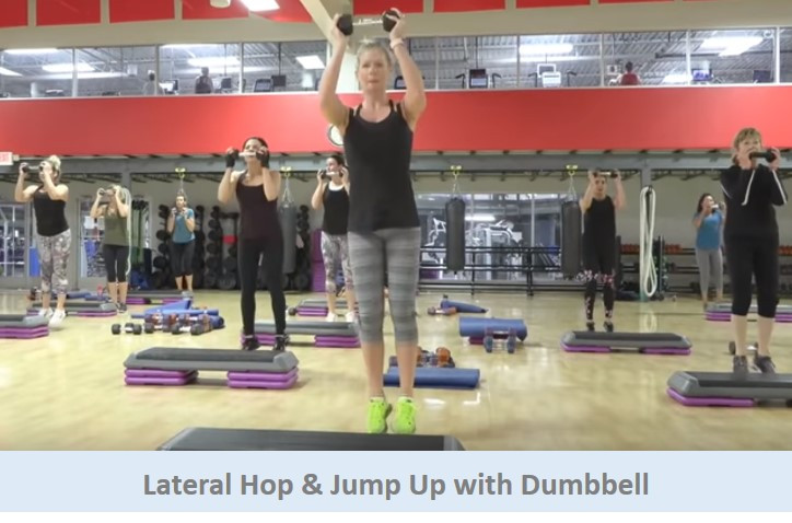 Lateral Hop & Jump Up with Dumbbell
