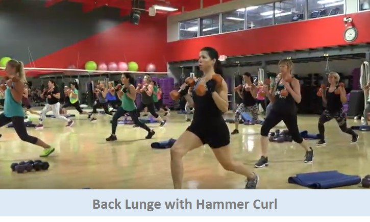 Back lunge with hammer curl