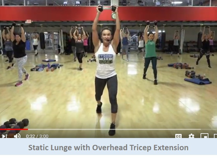Static lunge with overhead tricep extension
