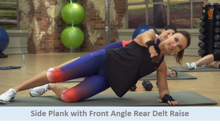 Side plank with front angle rear delt raise