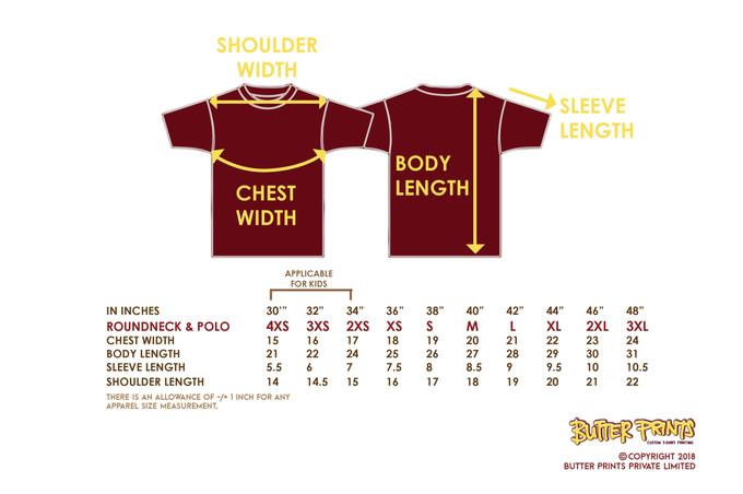 Mini Eyelet Drifit T-shirts Size Chart - Butter Prints