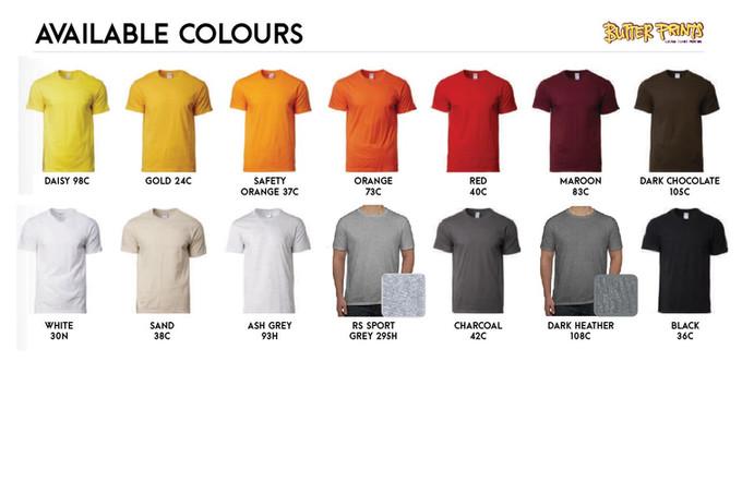 Gildam Premium Cotton T-shirts 76000 Unisex Color Chart 2