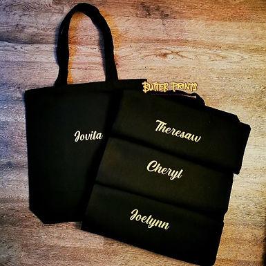 Custom Name on Canvas Tote Bag