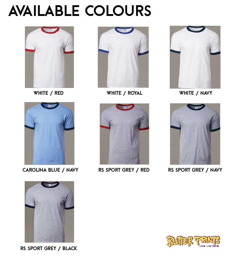 76600 Gildan Adult Ringer T-shirt Color Chart