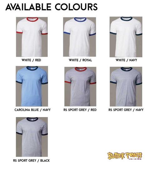 76600 Gildan Adult Ringer T-shirt Color Chart