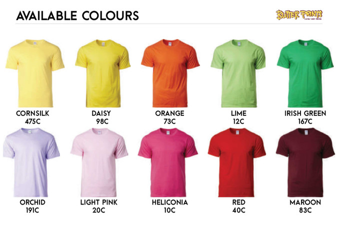 Gildan Softstyle 63000 Cotton T-shirts Color Chart 1
