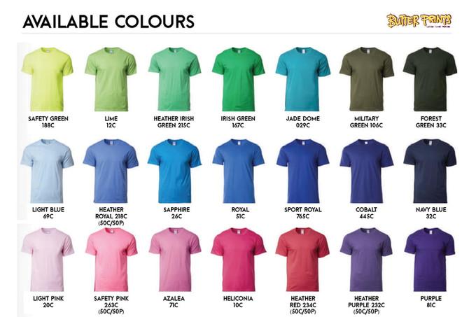 Gildam Premium Cotton T-shirts 76000 Unisex Color Chart