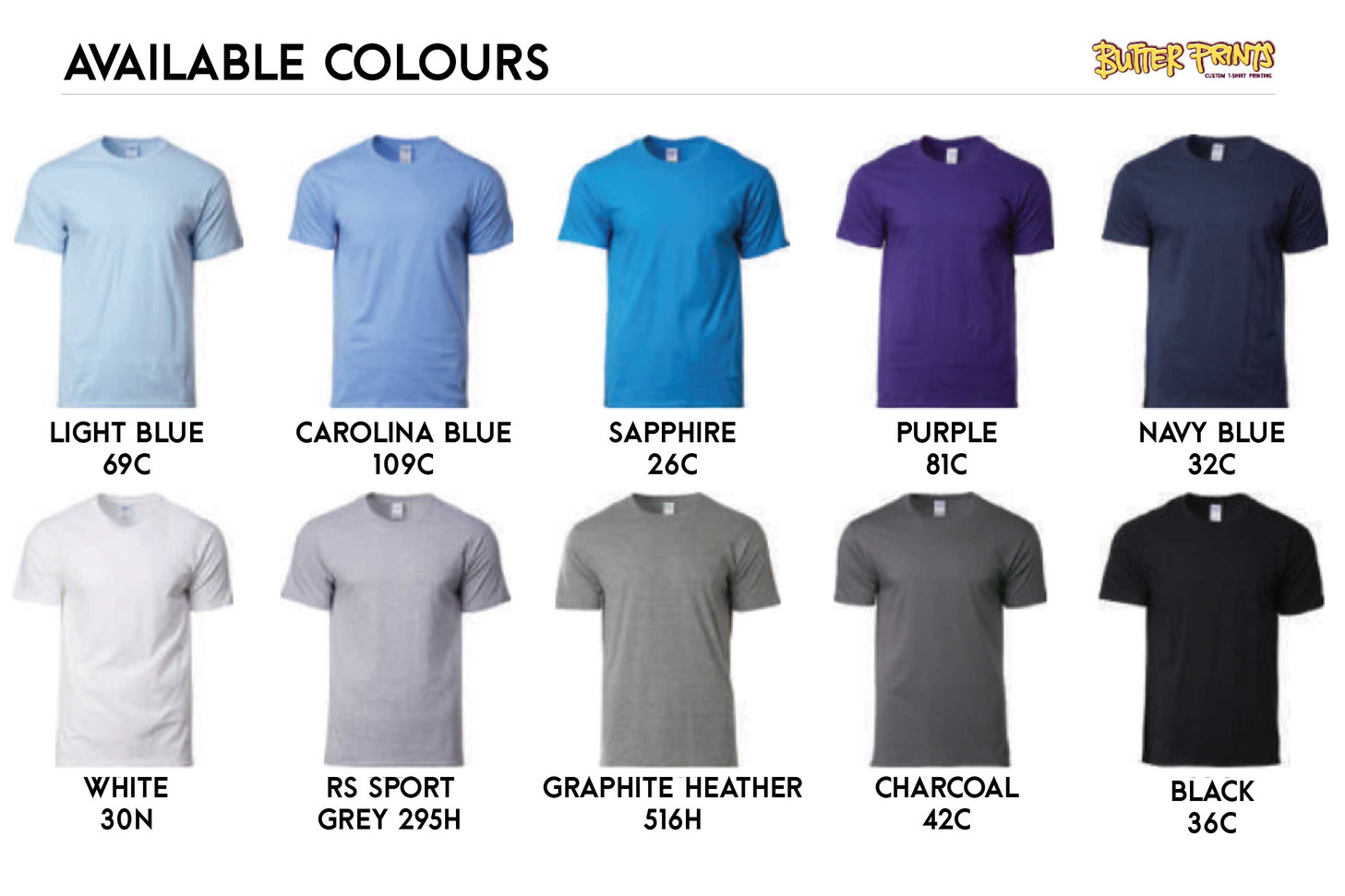 Gildan Softstyle 63000 Cotton T-shirts Color Chart 2