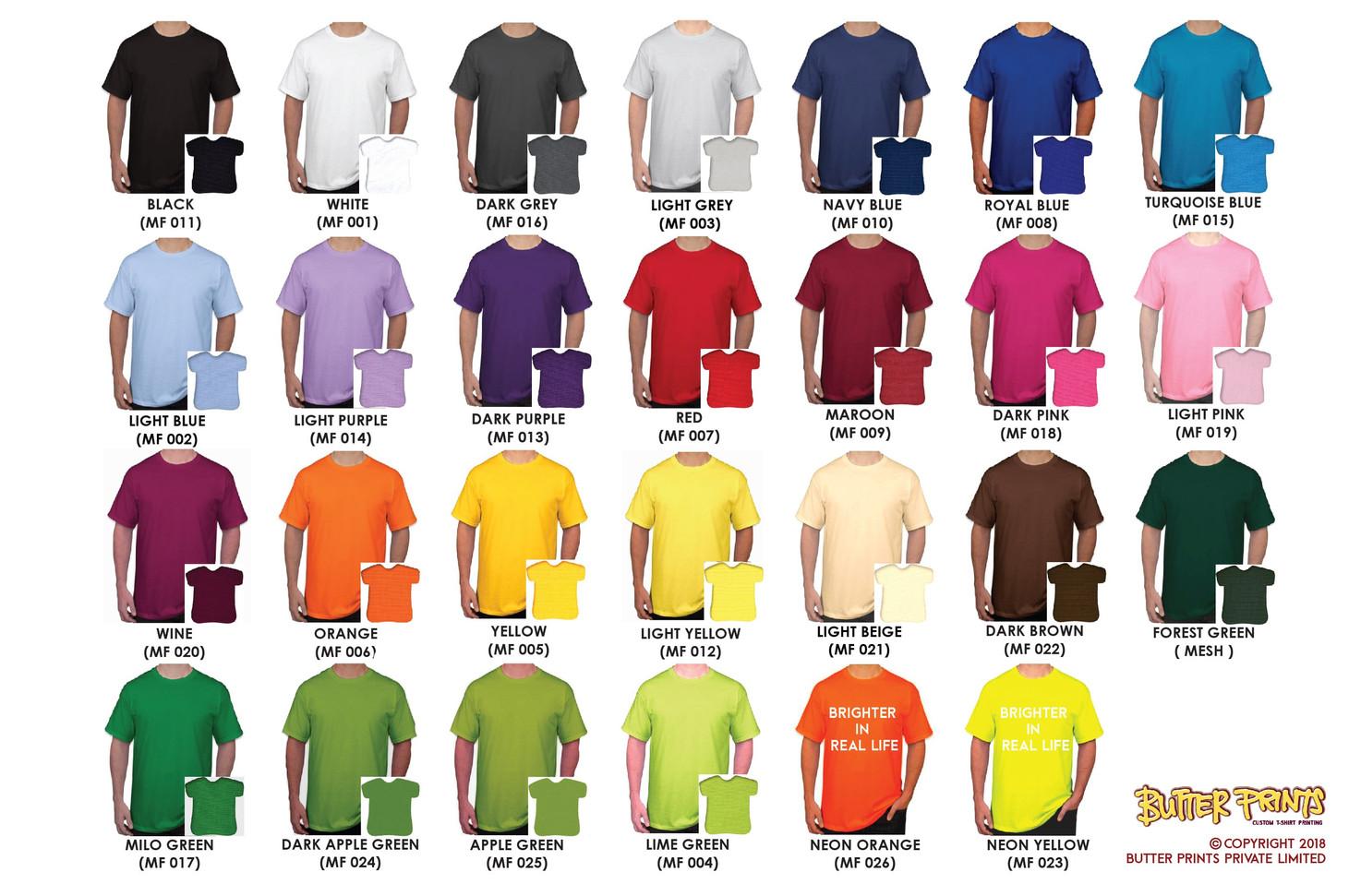 Mini Eyelet Drifit T-shirts Color Chart - Butter Prints