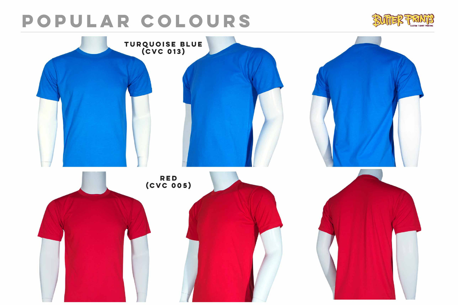 Turquoise Blue Red Cotton Roundneck T-shirts