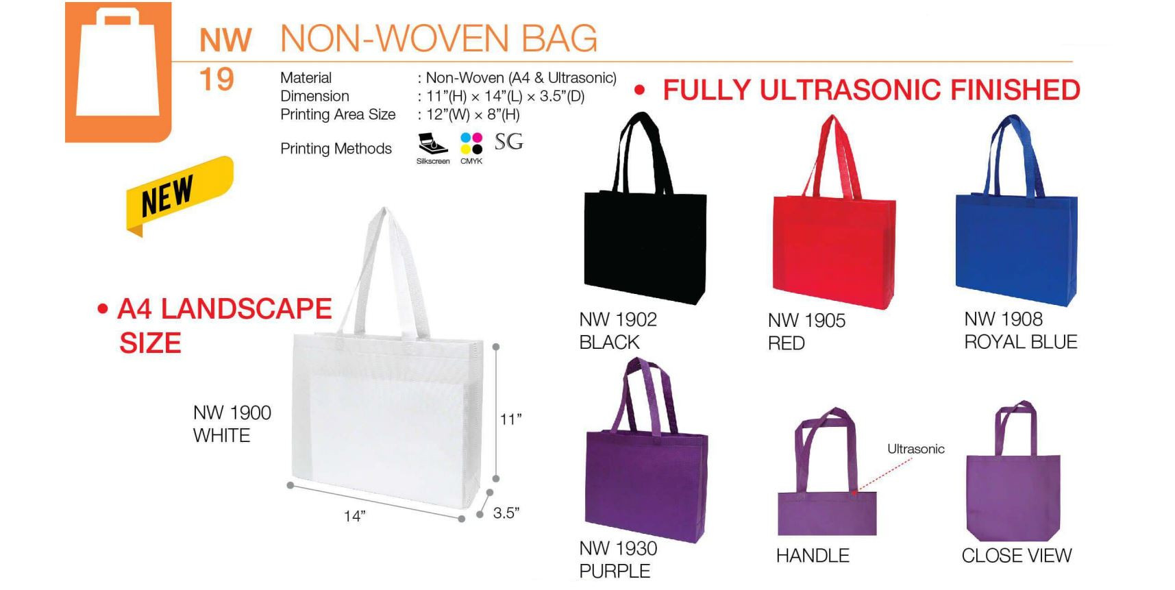 NW19 Series (A4 Landscape Non-Woven Bags)