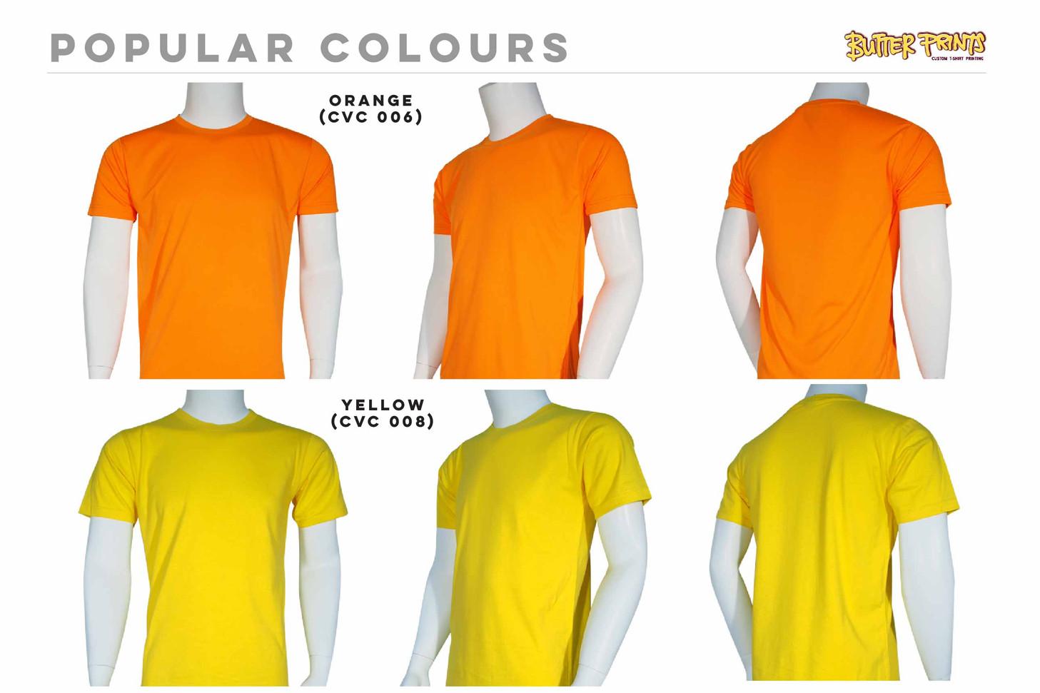 Orange Yellow Cotton Roundneck T-shirts