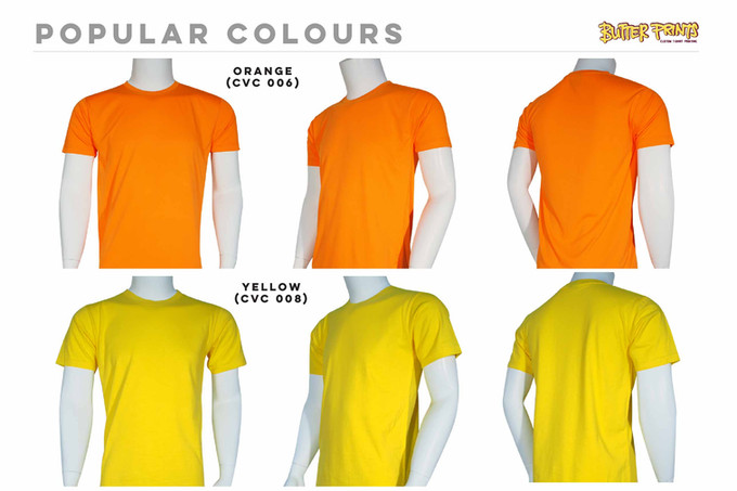 Orange Yellow Cotton Roundneck T-shirts