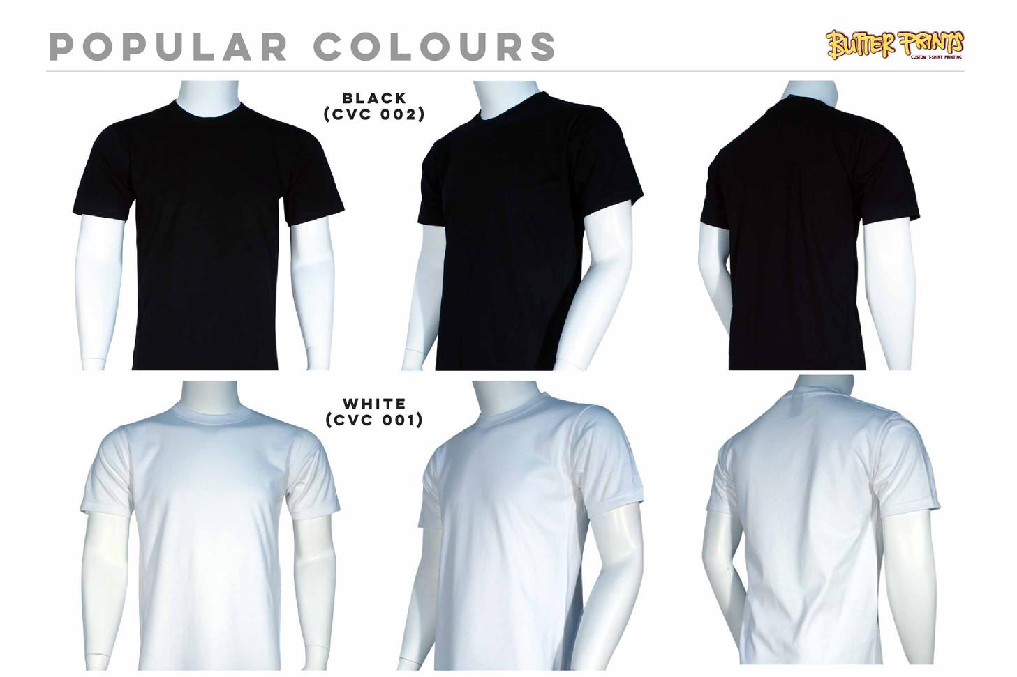 Black White Cotton Roundneck T-shirts