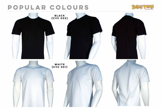 Black White Cotton Roundneck T-shirts