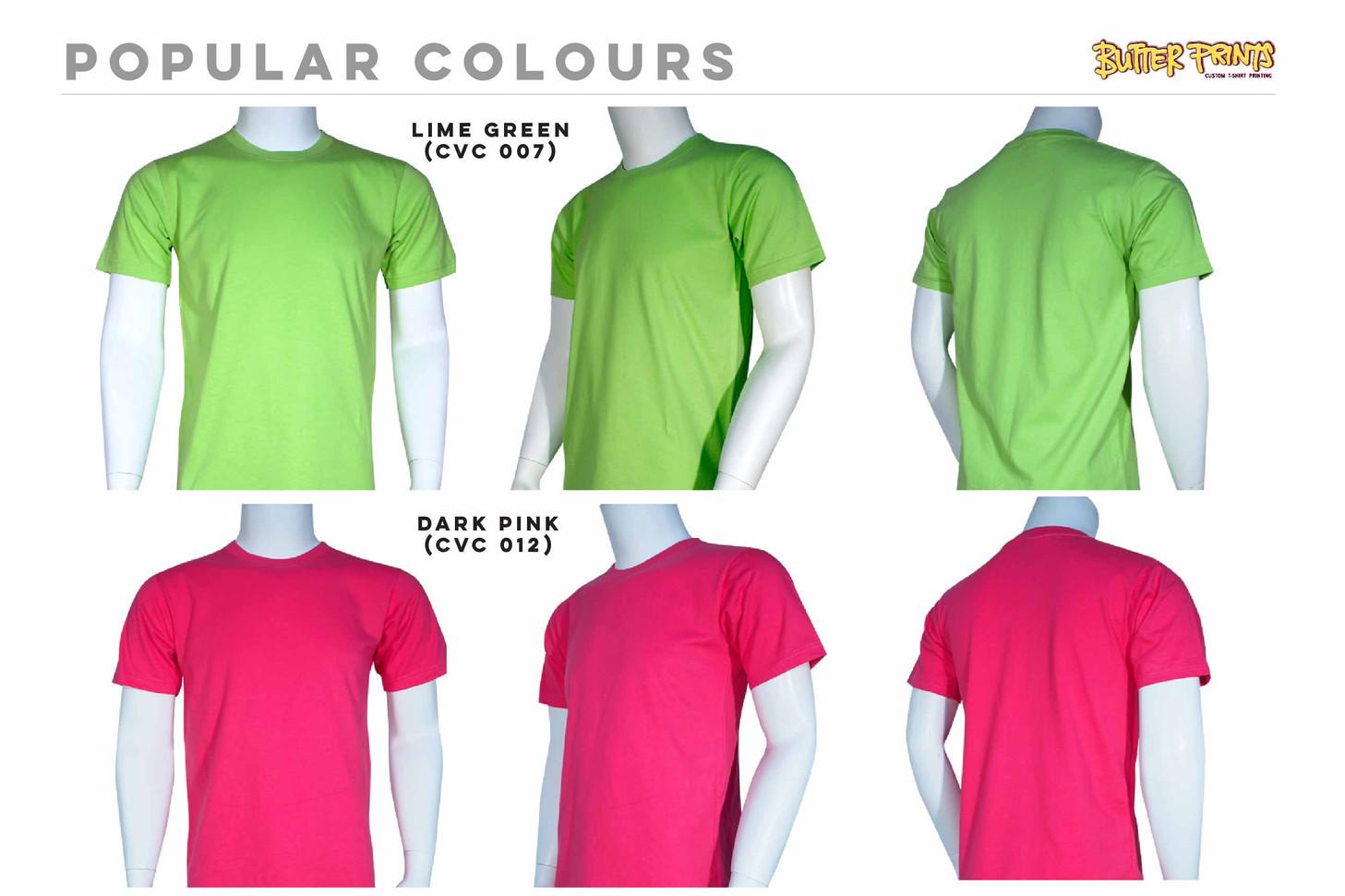DarkPink Lime Green Cotton Roundneck T-shirts