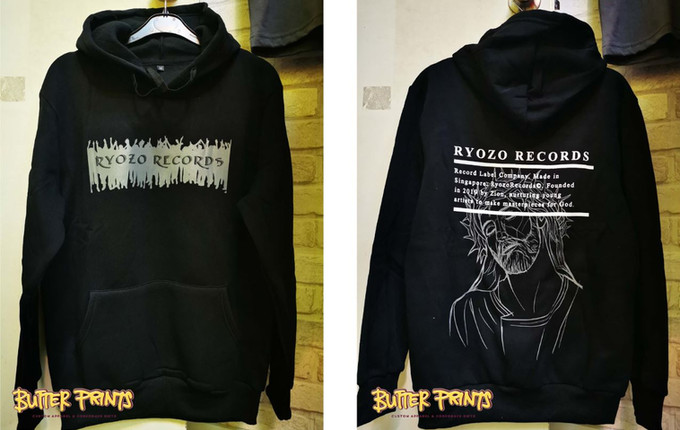fully customized black hoodie with silk-