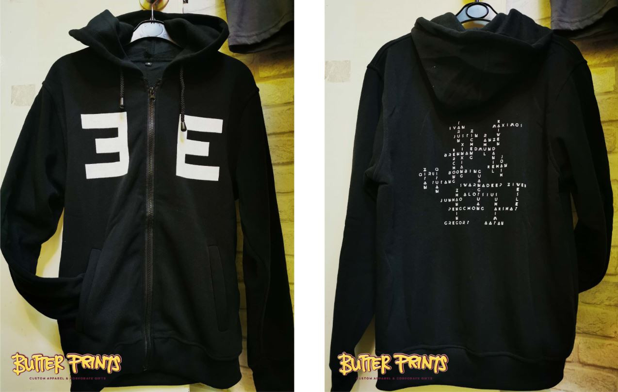 fully customized black hoodie with white