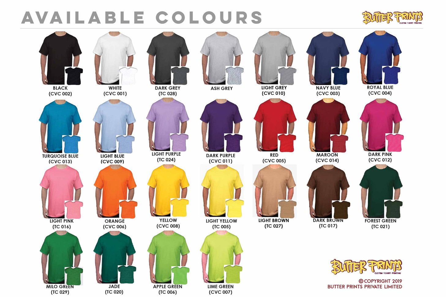 Butter Prints In-house Cotton Roundneck Tees Colors