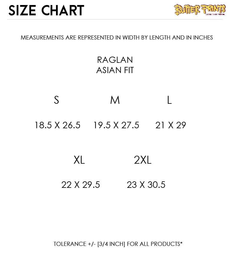Gildan Premium Raglan 76500 Size Chart