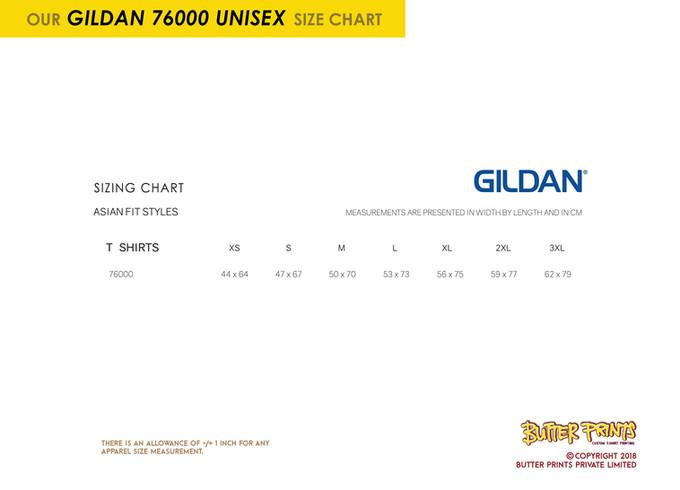 Gildam Premium Cotton T-shirts 76000 Unisex Size Chart
