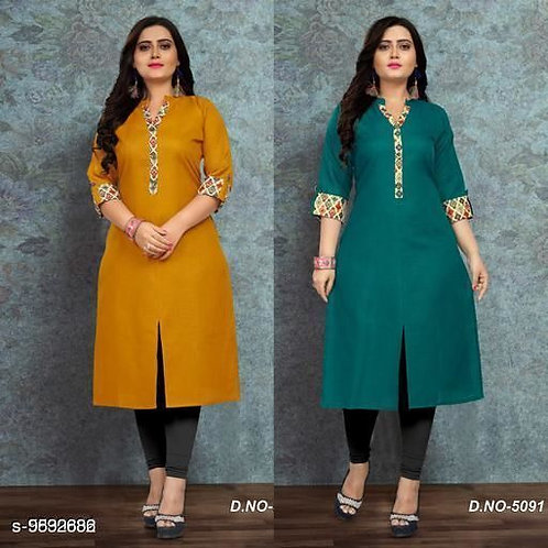 Navratri Green Color Women's Cotton Solid Kurti Combo of 2