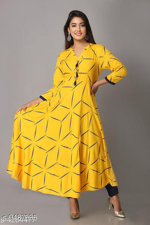 Navratri Yellow Color Women's Abstract Printed Rayon Kurti