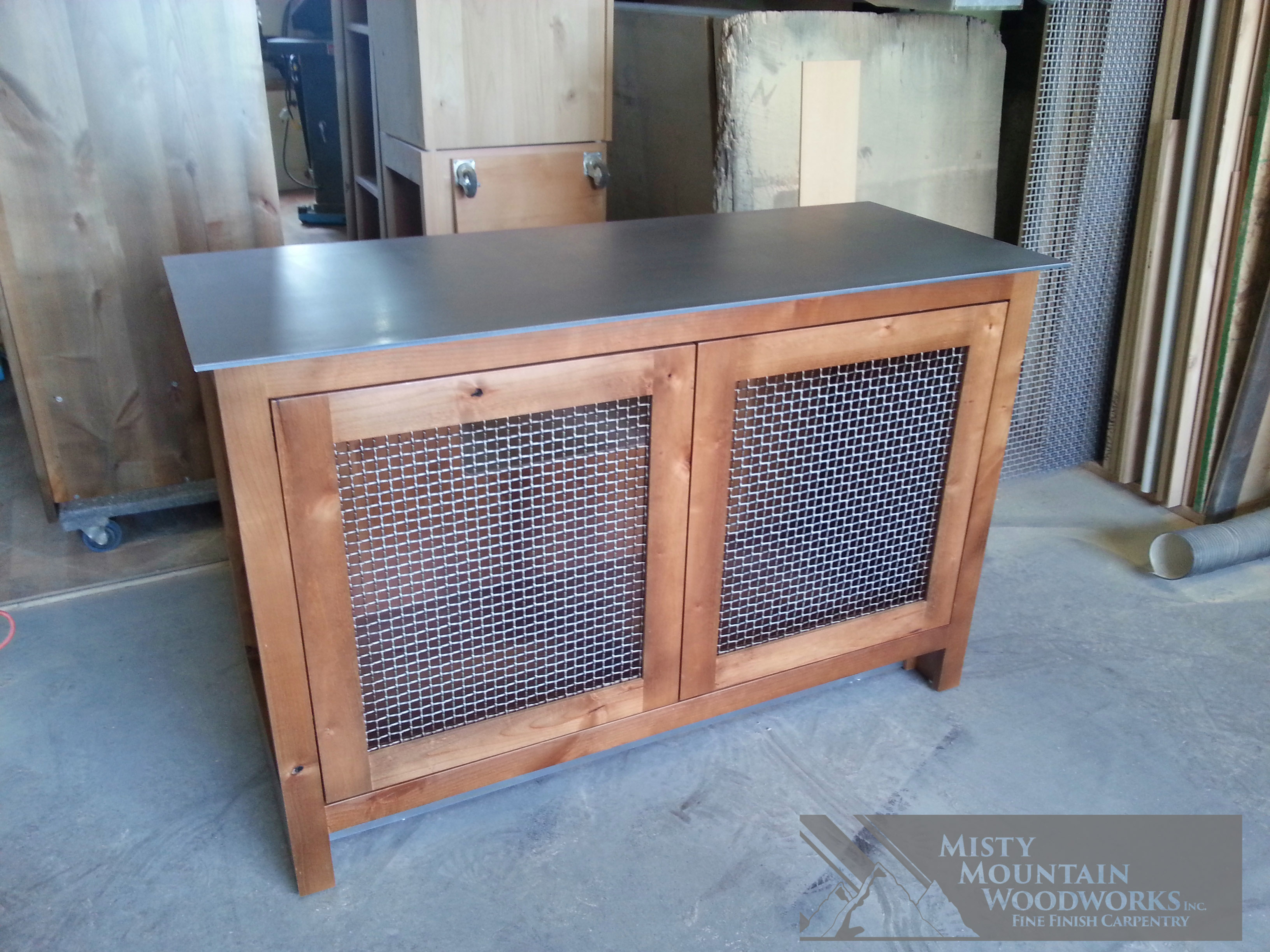 TV Cabinet with Metal Mesh Doors