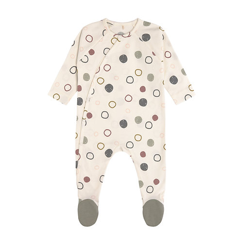 Pyjama met voetjes GOTS - Cosy Colors, Circles offwhite