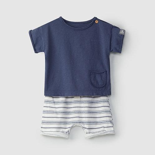 Snug Set gestreept Short  en Tshirt