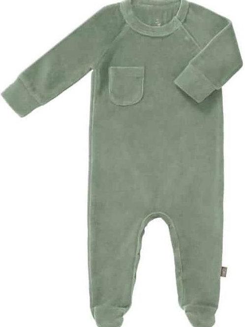 Pyjama met voet Forest Green Velours