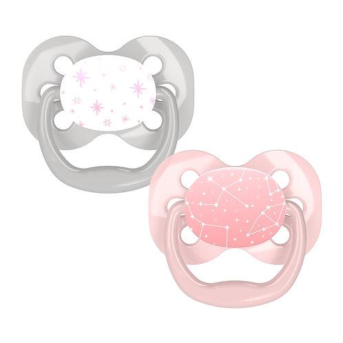 Symmetrische fopspeen fase 1 roze/grijs 2-pack