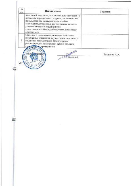Третья страница выписки из реестра членов СРО