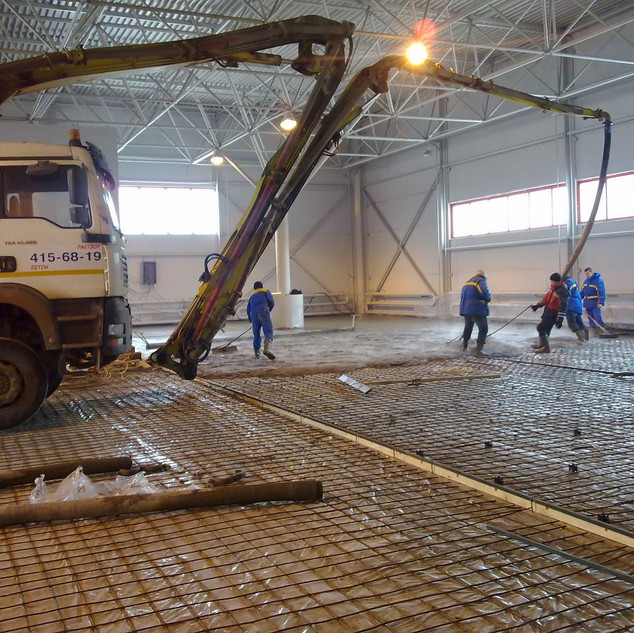 Укладка бетона на основание