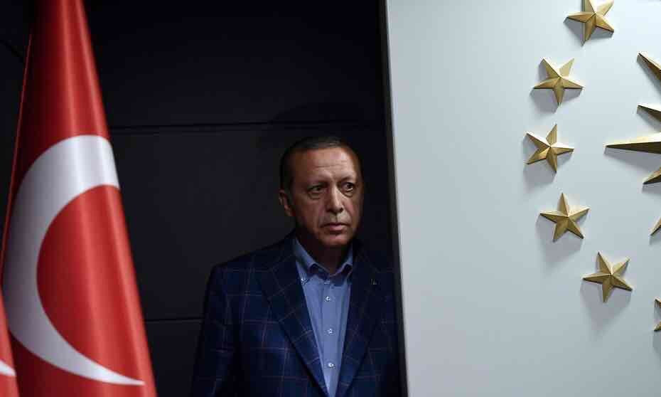 Turkish President Recep Tayyip Erdogan arrives to deliver a speech at the headquarters of his ruling Justice and Development Party, or AKP, in Istanbul on Sunday. (Bulent Kilic/AFP/Getty Images)