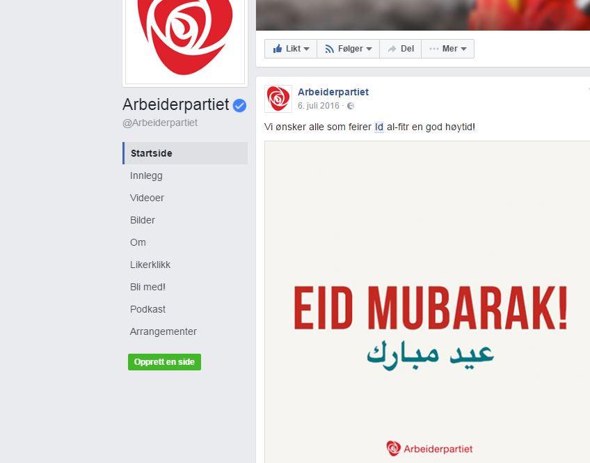 Skjermdump fra Arbeiderpartiets Facebook-side