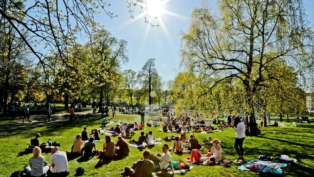 FOTO: STEIN J. BJØRGE Sol og varm kan friste til grill og parkliv. Her fra Sofienbergparken i Oslo 1. mai.