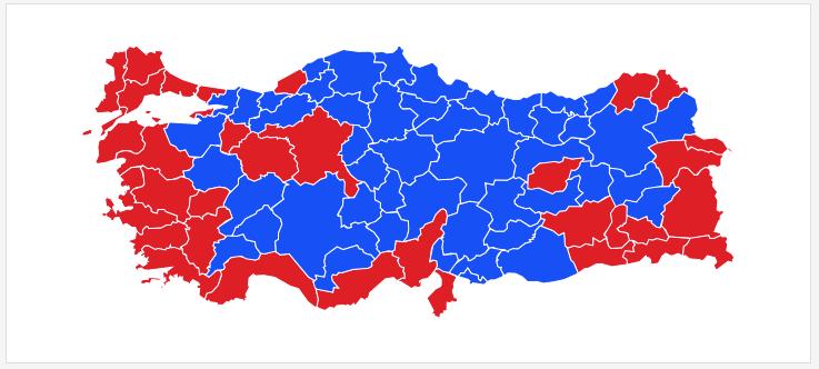i rødt fargede byer flest sa NEI til Erdogan regime.