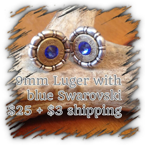 9mm Luger earrings with Blue Swarovski