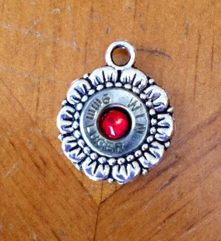 9mm charm with red Swarovski crystal
