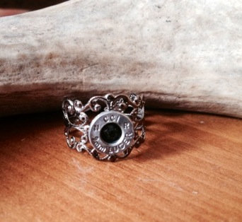 9mm ring Silver with black crystal
