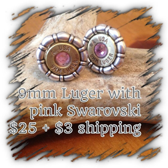 9mm Luger earrings with Pink Swarovski