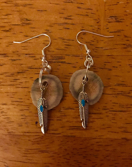 Antler Earrings with Feather