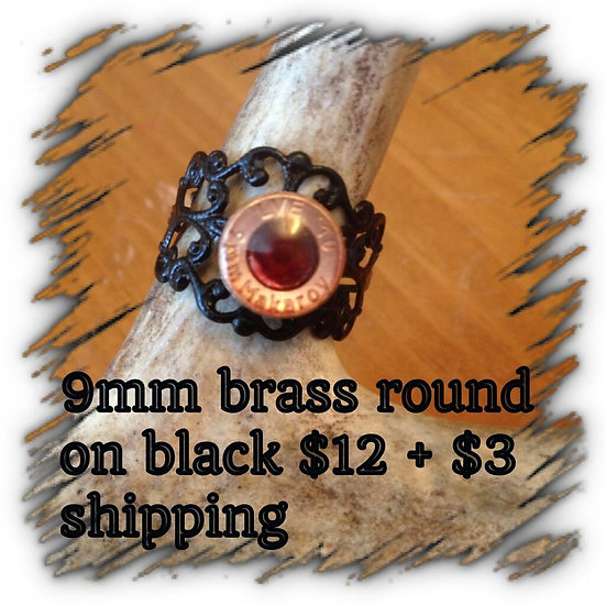 9mm Brass Round on Black Ring